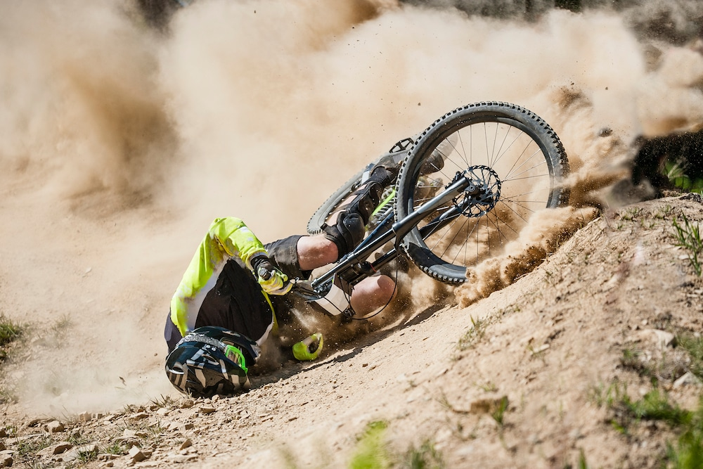 Mountain Biker Crashing