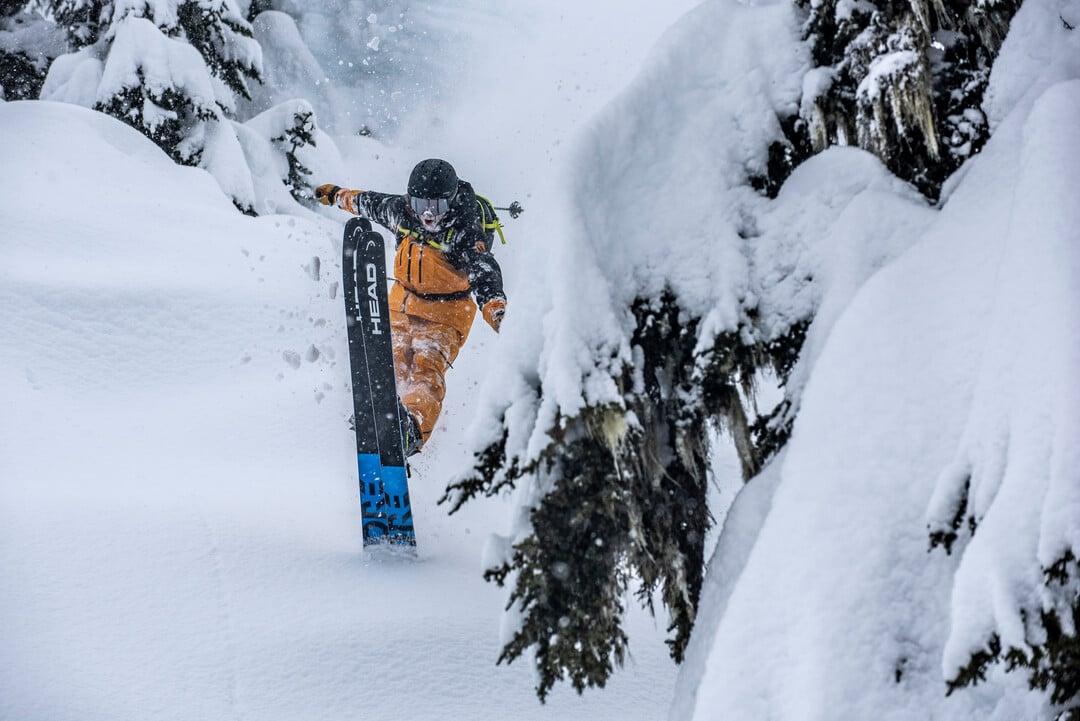 Blake Marshall wheelies on his Head Kore Skis